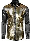 JOGAL Herren Pailletten Hemd 70er Langarm Disco Party Kostüm Medium Gold