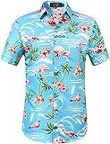 SSLR Hawaii Hemd Männer Flamingos Herren Hemd Kurzarm Freizeithemden Für Herren (XX-Large, Blau)
