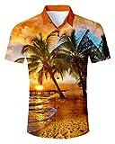Idgreatim Männer Herren Hemd Freizeit Hawaiihemd 3D Pattern Printed Hemden Shirts Kurzarm Button...