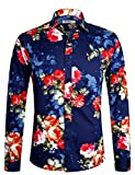 Herren Hemd Langarm Shirt Freizeit Blumenhemd Party Regular fit Hemd für Männer 1034 Blau L
